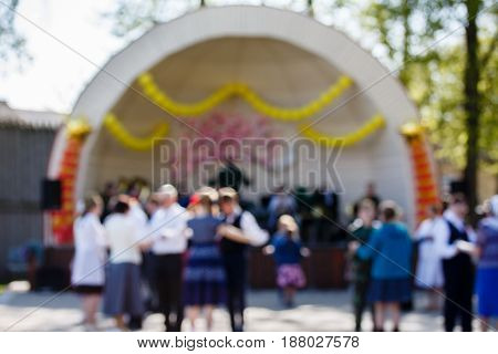 Bandshell. Dancing theme creative abstract blur background with bokeh effect. Not sharp picture as a background wallpaper