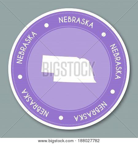 Nebraska Label Flat Sticker Design. Patriotic Us State Map Round Lable. Round Badge Vector Illustrat