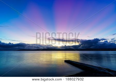 Beautiful scenery of Lake Taupo in twilight North Island of New Zealand