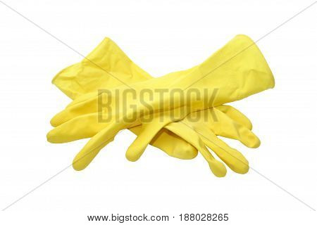 Pair of yellow rubber gloves on white background. Isolated with clipping path