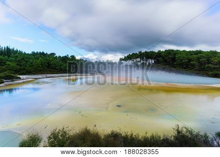 Artist's Palette Pool at Wai-O-Tapu geothermal area Rotorua North Island of New Zealand