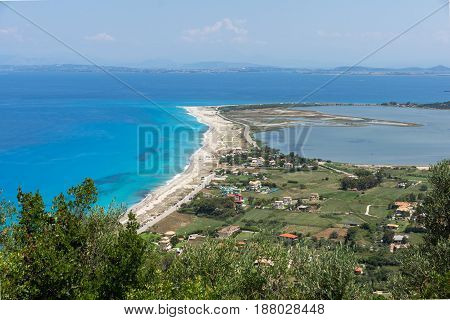 Amazing Panoramic view of Agios Ioanis beach with blue waters, Lefkada, Ionian Islands, Greece