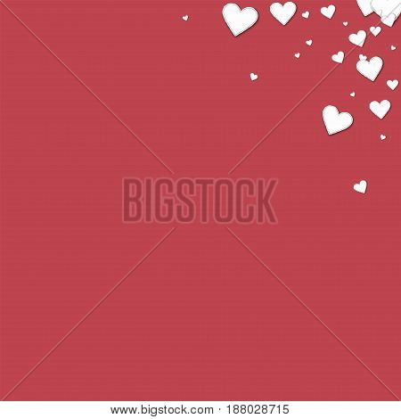 Beautiful Paper Hearts. Top Right Corner Gradient On Crimson Background. Vector Illustration.
