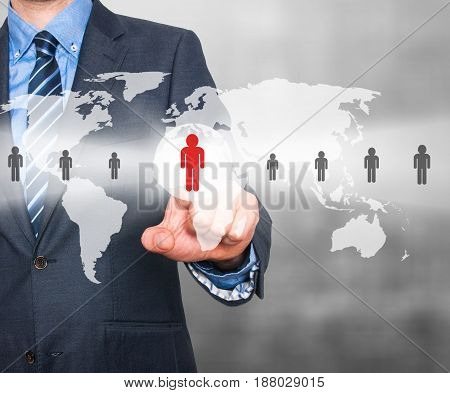 Businessman Touching Human Resources Sign - Hr, Hrm, Hrd Concept