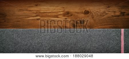 Rustic background with wood and felt for a table decoration