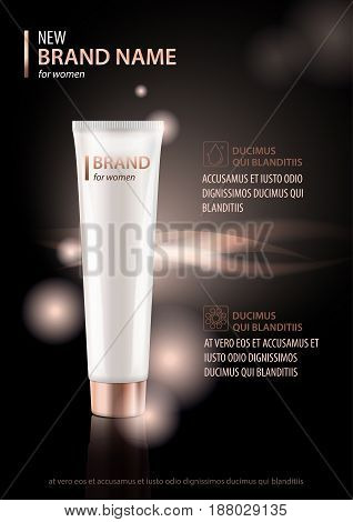 Vector design template of cosmetic package advertising for hand or face cream, lotion. Mock up tube on premium black glitter background for your design
