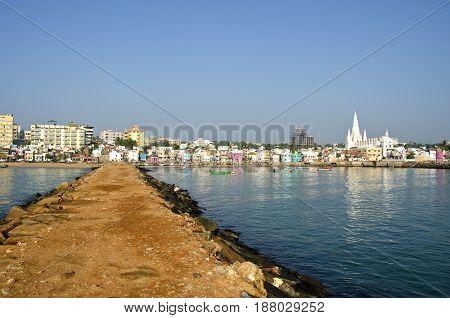 Southest India city Kanyakumari panorama from long sea pier