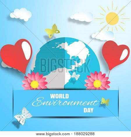 Vector World Environment Day paper craft on the gradient blue background with globe and red flowers insert in the blue paper pocket heart balloons shadow butterflies and text.