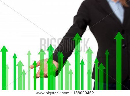 Businesswoman With Financial Symbols Coming
