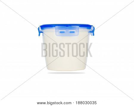 plastic Food Storage Container with Vacuum Seal Lid isolated on white background. clipping path.