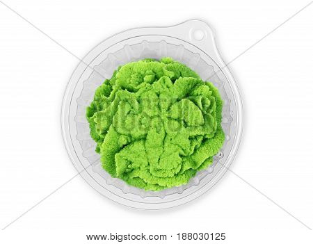 Bowl with wasabi isolated on white background. Close up.