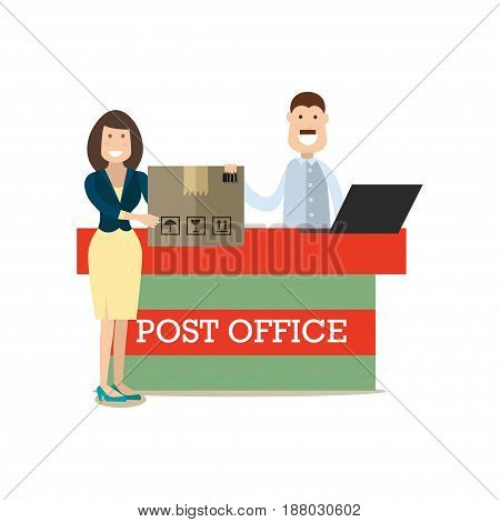 Vector illustration of postal worker male and woman receiving or sending parcel. Delivery people concept flat style design element, icon isolated on white background.