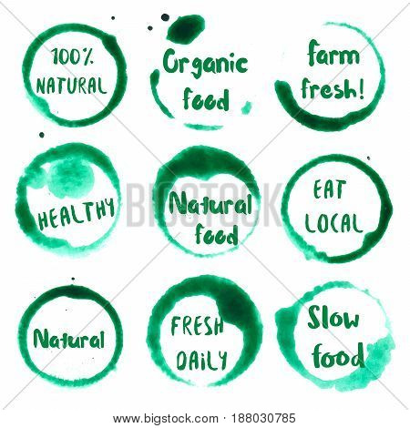 Organic Food Collection Of Round Watercolor Stains With Natural, 100%, Eat Local, Farm Fresh, Organi