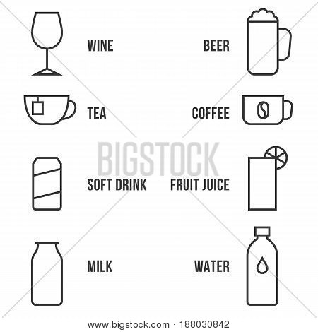 simple beverage outline icon set vector with name