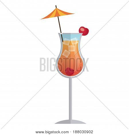 cocktail drink beverage with umbrella and cherry vector illustration