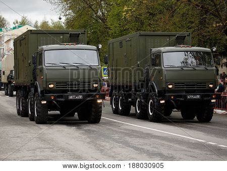 RUSSIAN KOZELSK MAY 9 2017 Victory Day May 9. Military Parade on anniversary of Victory in Great Patriotic War. Military vehicle army truck KAMAZ.