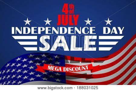 Fourth of July USA Independence day sale background. Design template for 4th of July sale. Vector illustration.