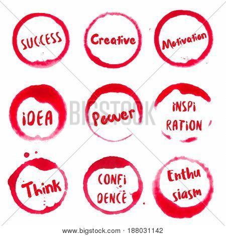Successful Words Collection Of Round Watercolor Stains With Success, Idea, Creative, Motivation, Pow