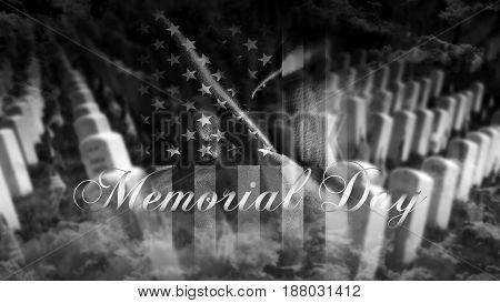 Memorial Day United States Of America . American Flag With Cemetery And Gravestones In Background 3D