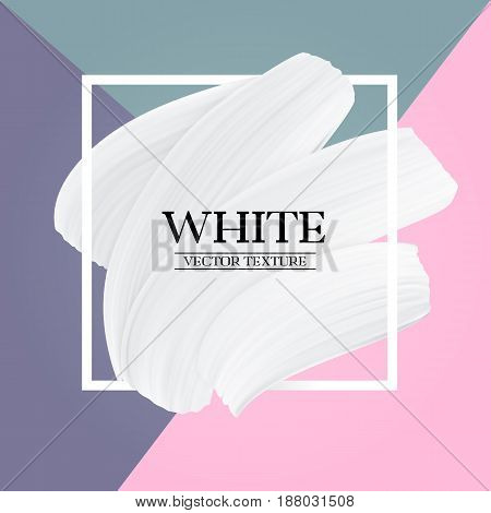 White paint brush texture on Pastel colors abstract background modern vector girly banner