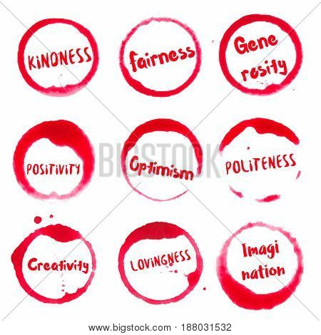 Positive Character Features Collection Of Round Watercolor Stains With Kindness, Fairness, Generosit