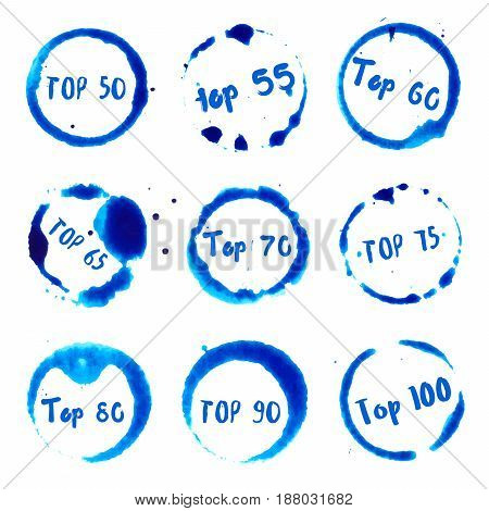 Top 50 To Top 100 Collection Of Round Watercolor Stains With Top 50 To 100 Text. Set Of Vector Top 5