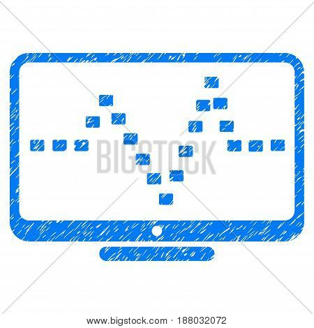 Grunge Monitor Dotted Pulse icon with grunge design and scratched texture. Unclean vector blue pictogram for rubber seal stamp imitations and watermarks. Draft emblem symbol.