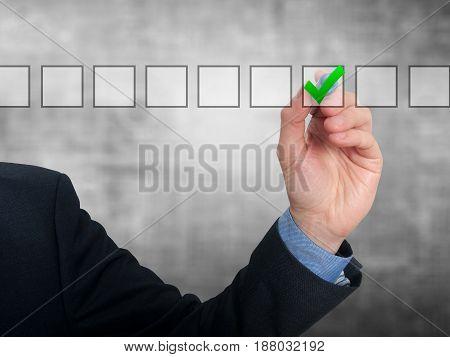 Businessman Checking Mark Checklist Marker Isolated On Grey Background
