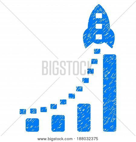 Grunge Rocket Business Bar Chart icon with grunge design and dust texture. Unclean vector blue pictogram for rubber seal stamp imitations and watermarks. Draft emblem symbol.