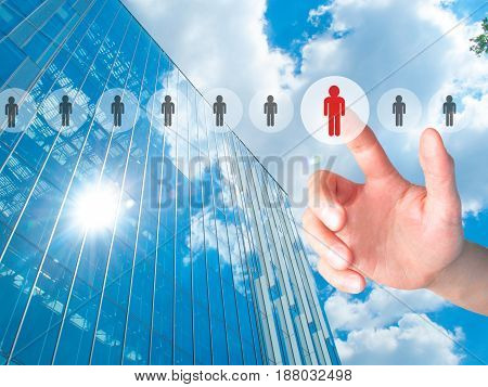 Businessman Pressing Button On Virtual Screens. Business, Technology, Internet, Networking And Recru