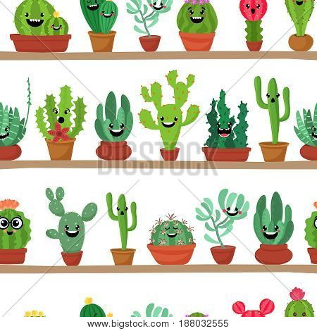 Seamless pattern of abstract cactuses in flower pot on shelves. Succulent plants seamless bacground. Cartoon flat style vector illustration
