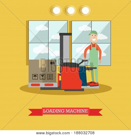 Vector illustration of worker loader lifting cardboard boxes using lift truck. Loading machine concept flat style design element.