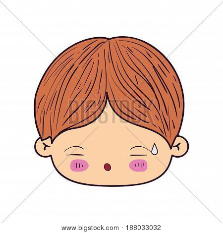 colorful caricature kawaii face little boy with facial expression of tired vector illustration