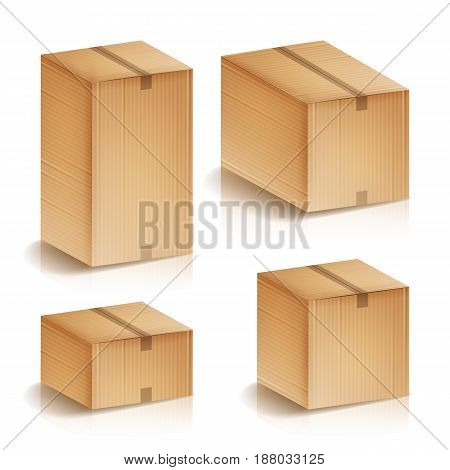 Realistic Cardboard Boxes Set Isolated Vector Illustration