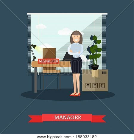 Vector illustration of postal service manager female. Post office staff flat style design.