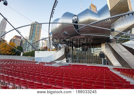 Chicago, USA - October 18 2016: Jay Pritzker Pavilion in Millenium Park at dusk on a hot summer's night