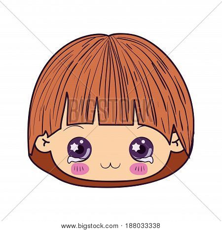 colorful caricature kawaii face little boy with facial expression depressed vector illustration