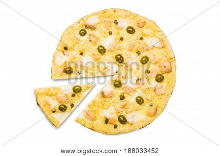 Italian seafood pizza with salmon isolated at white background, one slice cut off, top view