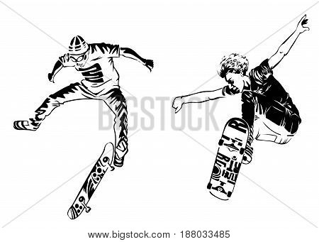 Skateboarders on white background. Extreme theme modern print. Vector design elements. Isolated on white