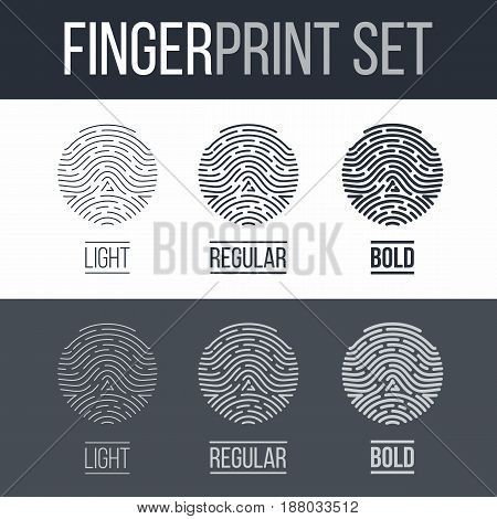 Fingerprints Set Print for Identity Person on Dark and White Background