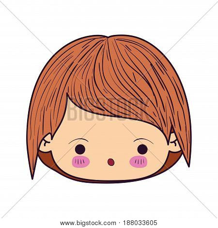 colorful caricature kawaii face little boy with facial expression of surprise vector illustration