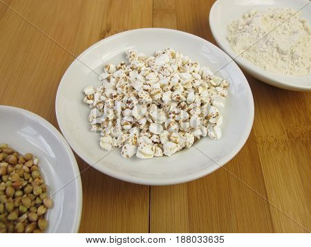 Puffed buckwheat, gluten free food for breakfast