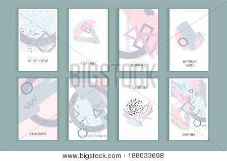 Universal abstract posters set. Creative geometric cards in pastel colors. Trendy creative abstract cards for wedding anniversary birthday Valentin's day party invitations web print.