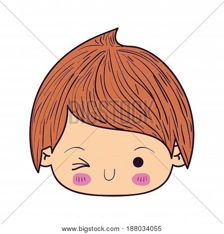 colorful caricature kawaii face little boy winking eye vector illustration