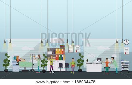 Vector illustration doctors, nursing personnel providing health care to disabled people in hospital, rehabilitation center. Disability and medical treatment concept flat style design element.