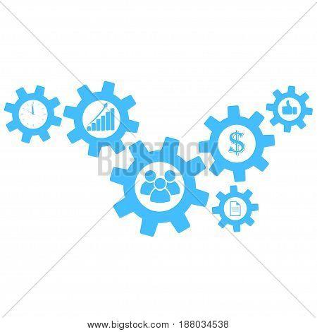 Cogwheel gear mechanism vector settings icon set