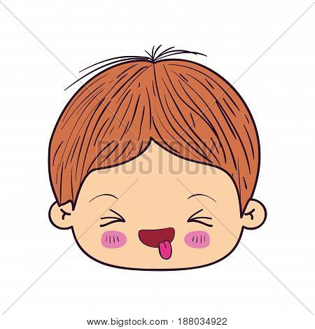 colorful caricature kawaii face little boy with facial expression funny with closed eyes vector illustration