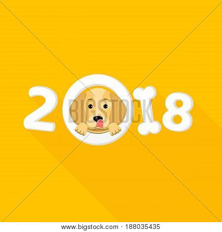 Happy New Year. The year 2018 is a yellow earth dog. A lovely cartoon dog looks. Cartoon figures with a shadow. Orange background. Cover for the calendar. Vector illustration in a flat style
