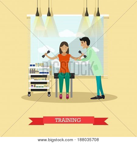Vector illustration of disabled young woman training with dumbbells, getting support of doctor physiotherapist male in rehab center. Medical care and rehabilitation concept flat style design.
