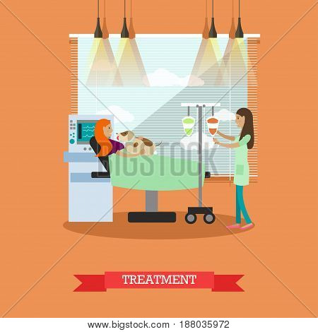 Vector illustration of nurse preparing dropper for patient disabled young woman. Disability and medical treatment concept flat style design element.